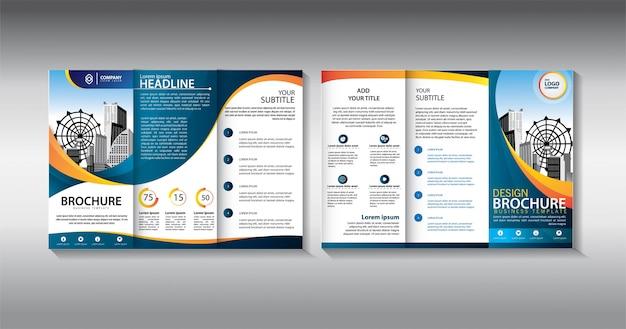 Dreifach gefaltete geschäftsschablone der blauen broschüre
