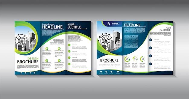 Dreifach gefaltete geschäftsschablone der grünen broschüre