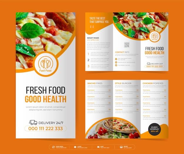 Dreifach gefaltete lebensmittelbroschüre, dreifach-broschüre für restaurantmenüs, vorlage für lebensmittelmenüs