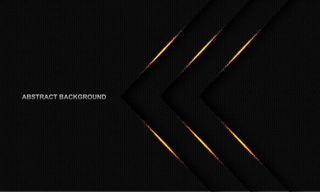Dreifache pfeilrichtung des abstrakten goldlichts auf dunkelgrauem sechsecknetz mit modernem luxusfuturismushintergrund des leerraumdesigns