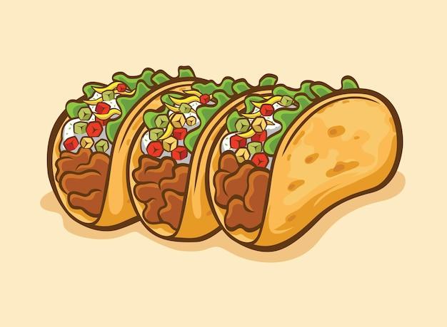 Dreifache taco-vektorbilder