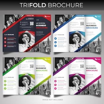 Dreifachgefaltete broschürenabdeckungsvorlage für unternehmen