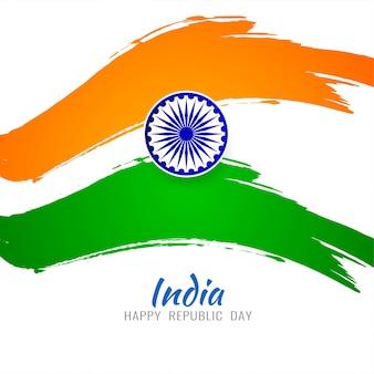 Dreifarbiger hintergrund des modernen indischen flaggenthemas