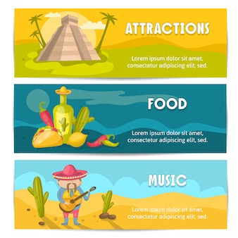 Dreifarbiges und isoliertes mexikanisches bannerset mit vektorillustration des anziehungskraftlebensmittels und der musikbeschreibungen