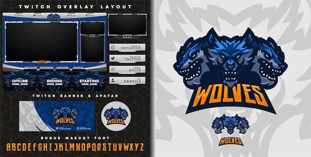 Dreiköpfiges wolf-logo für e-sport-gaming-maskottchen-logo und zuckende overlay-vorlage