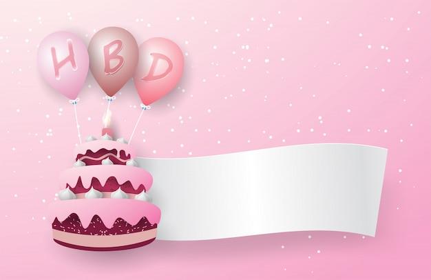 Dreischichtiger rosa kuchen schwimmt mit drei rosa luftballons. auf dem ballon befindet sich ein hbd-buchstabe und eine weiße hintergrundfahne schwebt aus dem kuchen. auf dem rosa hintergrund.