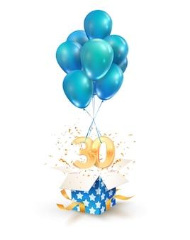 Dreißigjährige feierlichkeiten grüße zum dreißigsten jahrestag isolierten gestaltungselemente. öffnen sie eine strukturierte geschenkbox mit zahlen und fliegen sie auf luftballons