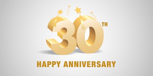 Dreißigjähriges jubiläum mit goldenen 3d-zahlen