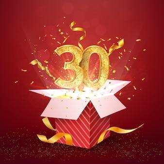 Dreißigjähriges jubiläum und offene geschenkbox mit explosionen konfetti isoliert designelement