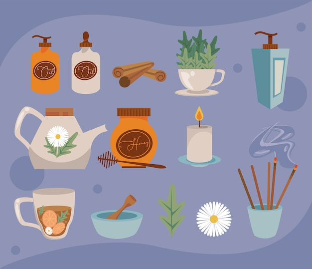 Dreizehn aromatherapie-symbole