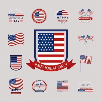 Dreizehn gedenkabzeichen und logos