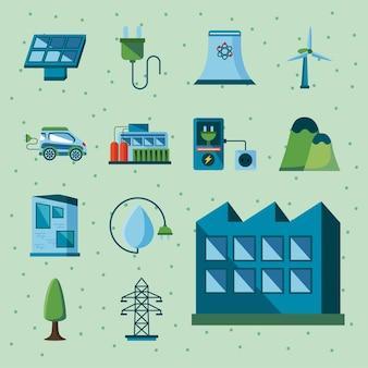 Dreizehn saubere energieelemente