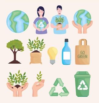 Dreizehn umweltfreundliche symbole