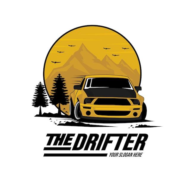 Drift-auto in den bergen