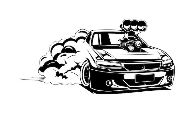 Drift auto silhoute