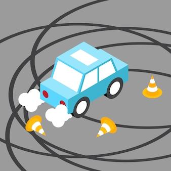 Drift auto verkehrskegel isometrisch