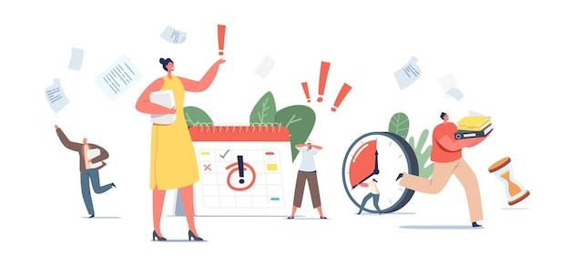 Dringende arbeit, konzept nähert sich der frist. ängstliche kleine geschäftsfiguren im chaos office workplace. menschen laufen mit papierdokumenten, kalender und wecker. cartoon-menschen-vektor-illustration