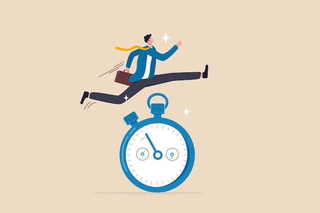 Dringlichkeitsgefühl, schnelle reaktionsbereitschaft, um die arbeit jetzt so schnell wie möglich zu erledigen, reaktion auf eine vorrangige aufgabe oder ein wichtiges konzept, schneller geschäftsmann, der läuft und hoch über die countdown-timer-uhr springt.