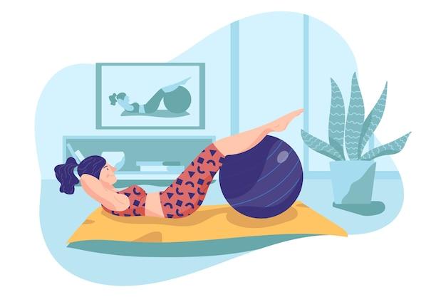 Drinnen mit fitnessball trainieren