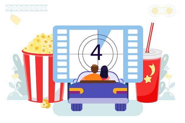 Drivein-kino mit open-air-parkplatz paar schaut film im auto sitzend kino im freien