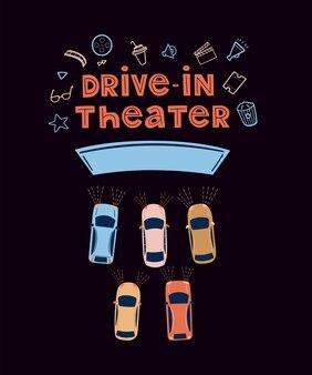 Drivein-theater open-air-kinokonzept filme im freien ansehen