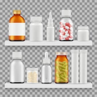 Drogen, medikamente verpackungsvektor. realistische flaschen auf regalillustration