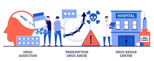 Drogensucht- und reha-zentrum, konzept des missbrauchs von verschreibungspflichtigen medikamenten mit winzigen leuten. drogenüberwachung abstrakte vektor-illustration-set. überdosis, therapieklinik, fußfessel, detox-metapher.