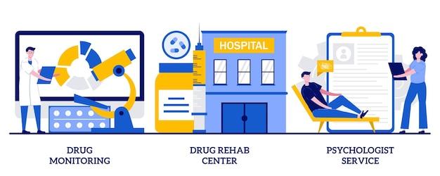 Drogenüberwachung, drogenrehabilitationszentrum, psychologen-servicekonzept mit winzigen leuten. suchtbehandlung, drogenabhängige medikamente, erholung und rehabilitation abstrakte vektorgrafiken.