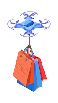 Drohne 3d mit isometrischer illustration der einkaufstaschen