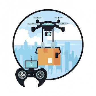 Drohne, die kasten an der stadt liefert