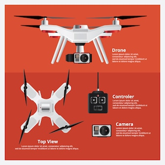 Drohne front und draufsicht mit controller und kamera vector illustration