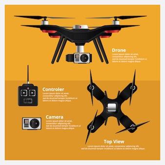 Drohne front- und draufsicht