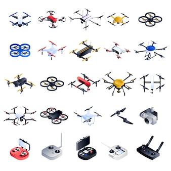 Drohne-icon-set. isometrischer satz drohnenvektorikonen