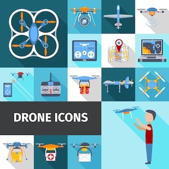Drohne icons set