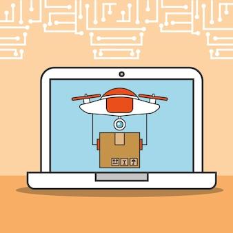 Drohne laptop lieferung fracht technologie