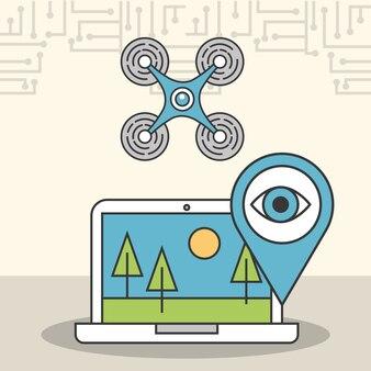 Drohne laptop sichere überwachung digital