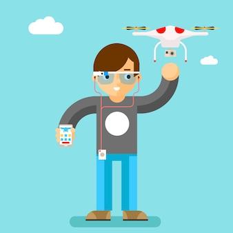 Drohne mit action-kamera mobile steuerung. geek mit schickem glas. quadcopter und drehflügler, brillen