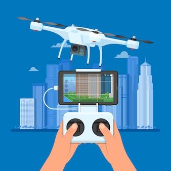 Drohne mit fernbedienung fliegt über stadt. luftdrohne mit kamera, die fotografie und videokonzeptillustration nimmt