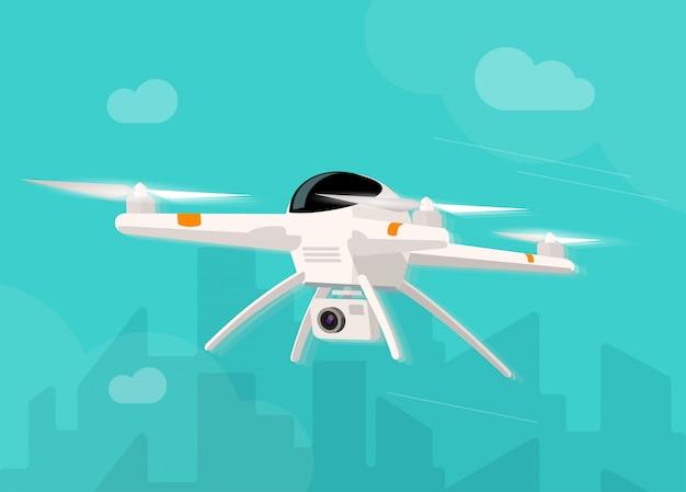 Drohne mit fotokamera, die im himmelillustrationskarikatur fliegt
