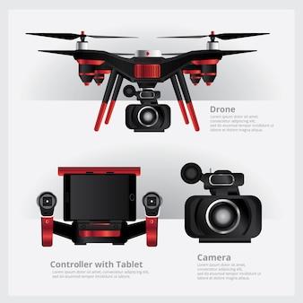 Drohne mit vdo-kamera und controller-vektor-illustration