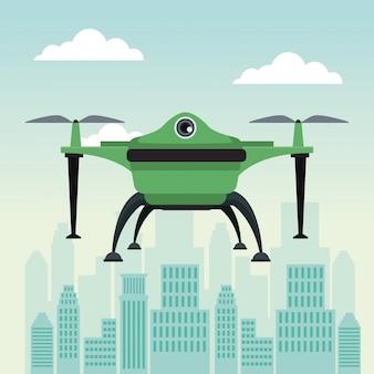 Drohne mit zwei luftschraube fliegen und basis