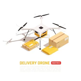 Drohne oder quadcopter mit kartons und bearbeitbarem text mit knopf. lieferkonzept