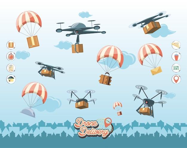 Drohne service-set icons symbol vektor-illustration