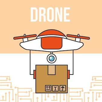 Drohne technologie futuristische lieferung paket