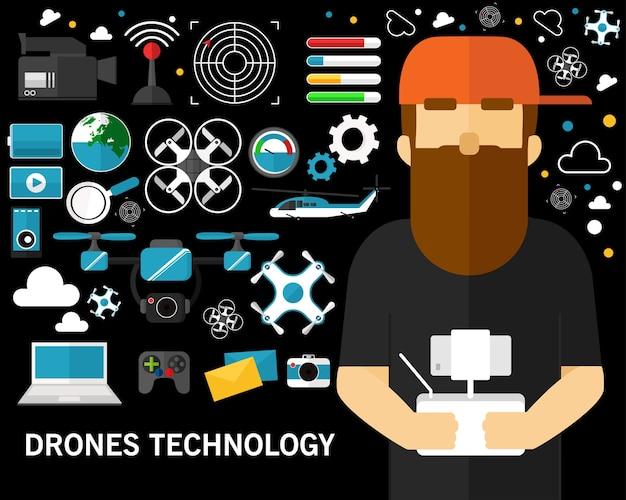 Drohne technologie konzept hintergrund. flache symbole