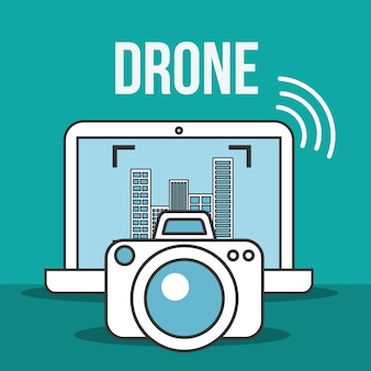 Drohne technologie laptop kamera fotografisches signal