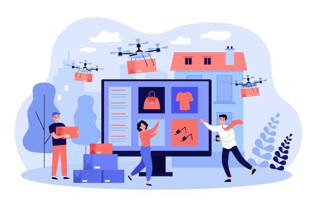 Drohnen fliegen über die stadt und liefern pakete aus internetgeschäften an zufriedene kunden. käufer mit digitalen geräten, die bestellungen erhalten