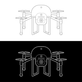 Drohnen-icon-set. grafik drohnen schwarz und weiß umriss umriss strich illustrieren