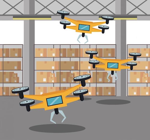 Drohnen in der lagerkarikatur