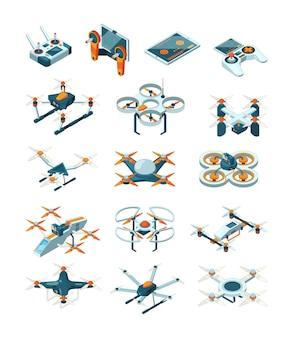 Drohnen isometrisch. flugzeuge zukunft moderne technologien transportieren unbemannte luftfahrt set. funkzustellung durch drehflügler, transport zeitgenössische illustration